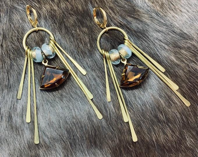 DAHLIA antiqued brass fringe snake earrings