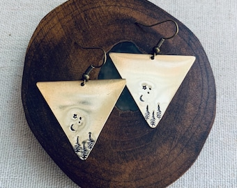 KAT forest stamped brass triangle earrings