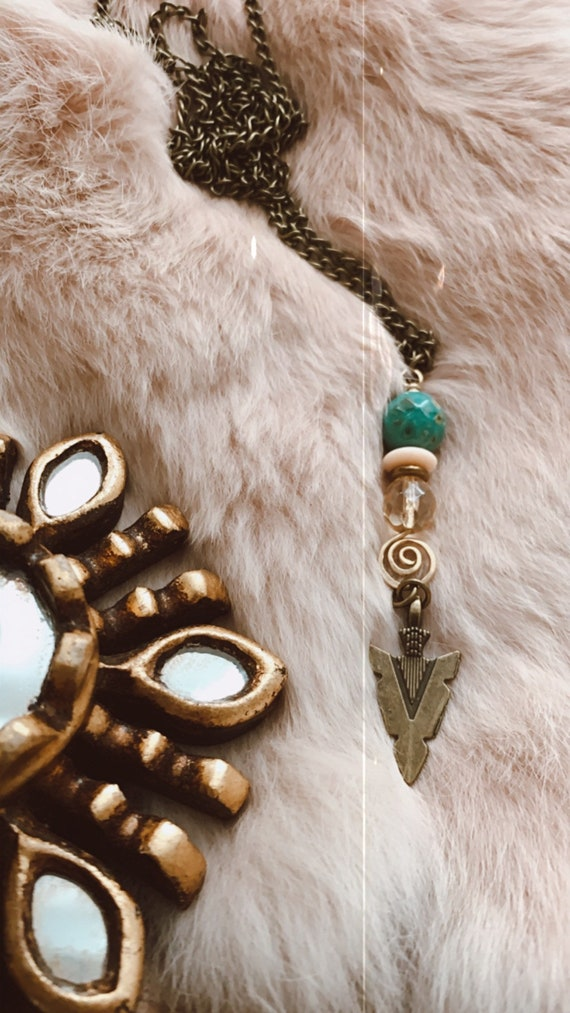 GYPSY HUNTER mint white and gold spear arrow bohemian vintage
