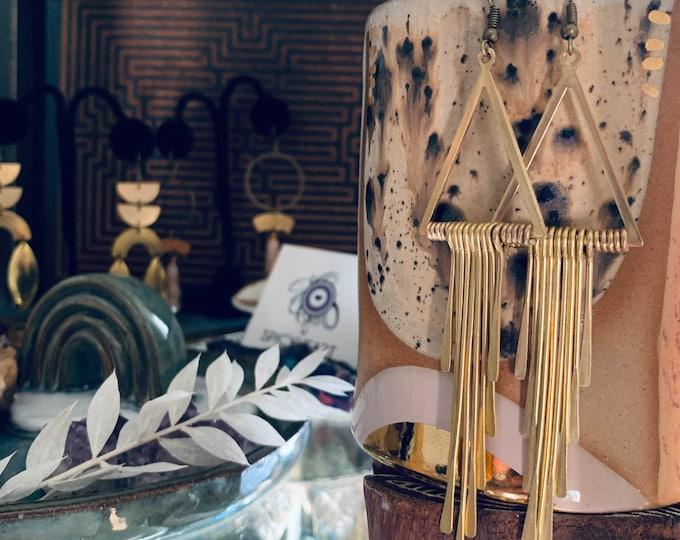 ALICIA Triangle fringe dangle earrings