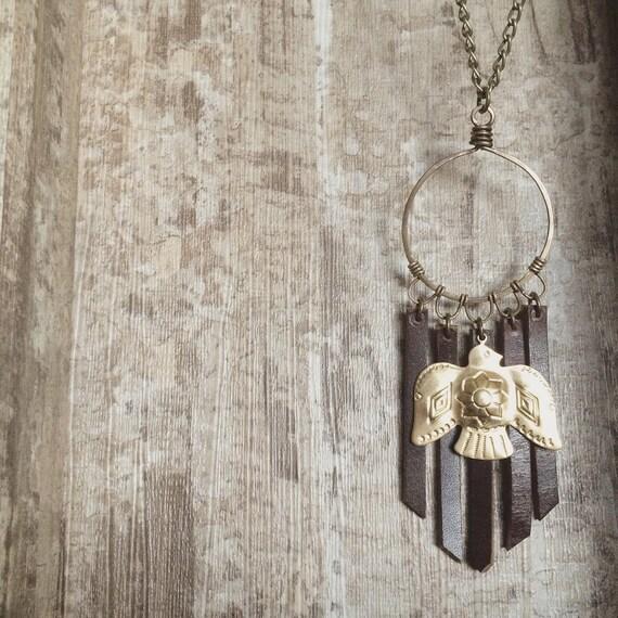 THUNDERBIRD brass bohemian necklace leather fringe warrior woman vibe