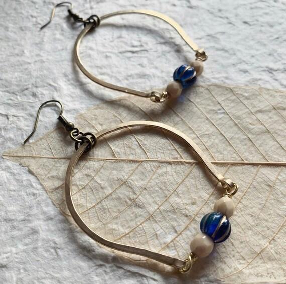 ARIA dangle arch brass long earrings
