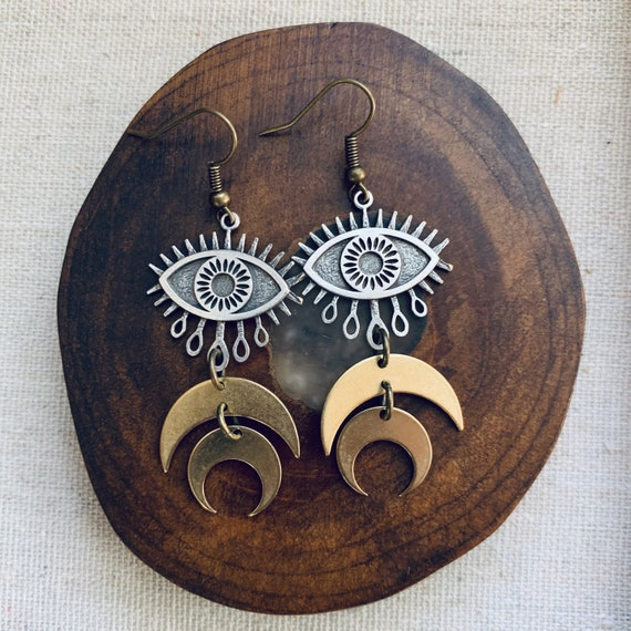 TERELÚ antiqued brass and silver dangle earrings