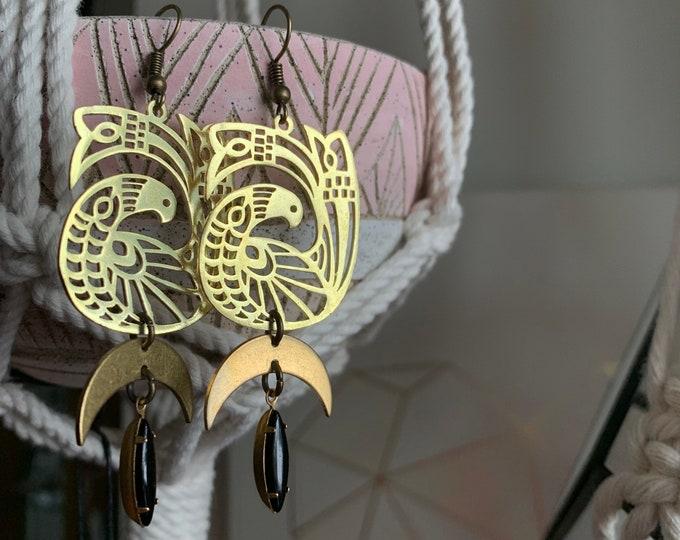 JUSTINA long dangle phaisan brass earrings
