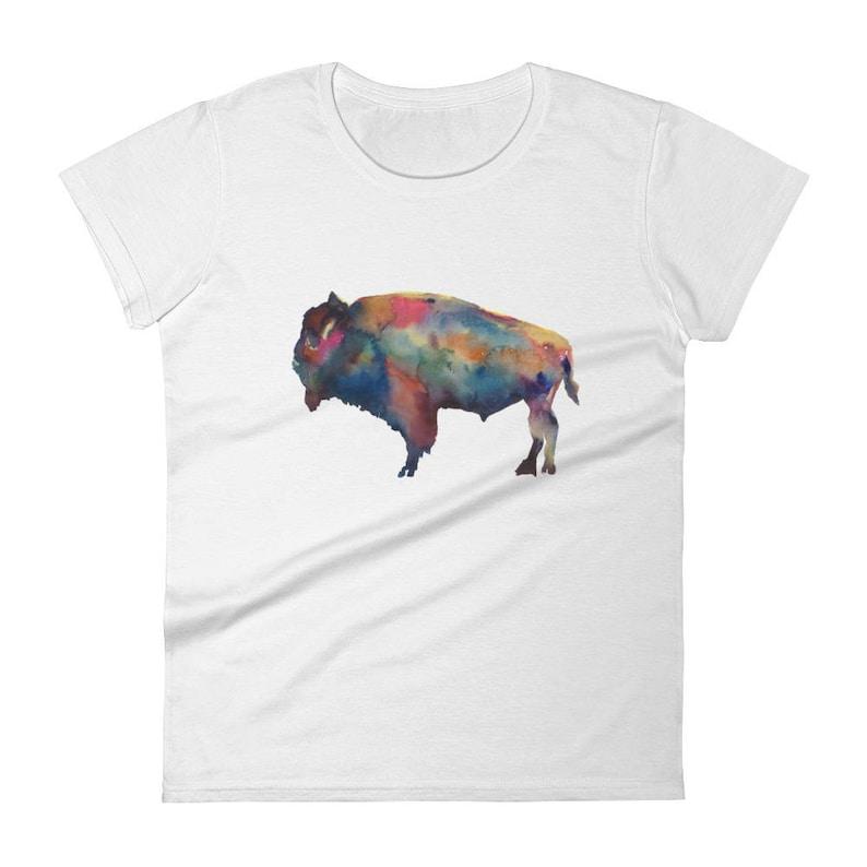 d9462a59 Buffalo NY, Buffalo Bills and Bison Fan Gift Idea Women's Buffalo  Watercolor Print short sleeve t-shirt