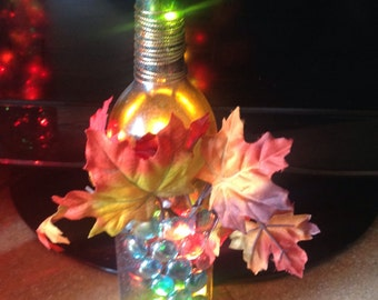 Beautiful fall lighted bottle! Free Shipping in US!