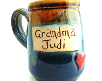 Handmade Pottery Mug  Personalized Mug  Make Your Own Personalized Name Mug    Jewel Pottery