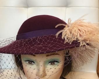 ea08f4e2791 Vintage Doeskin Felt Purple pink Feathers Womens HAT by Geo W. Bollman   CO.  100%WOOL