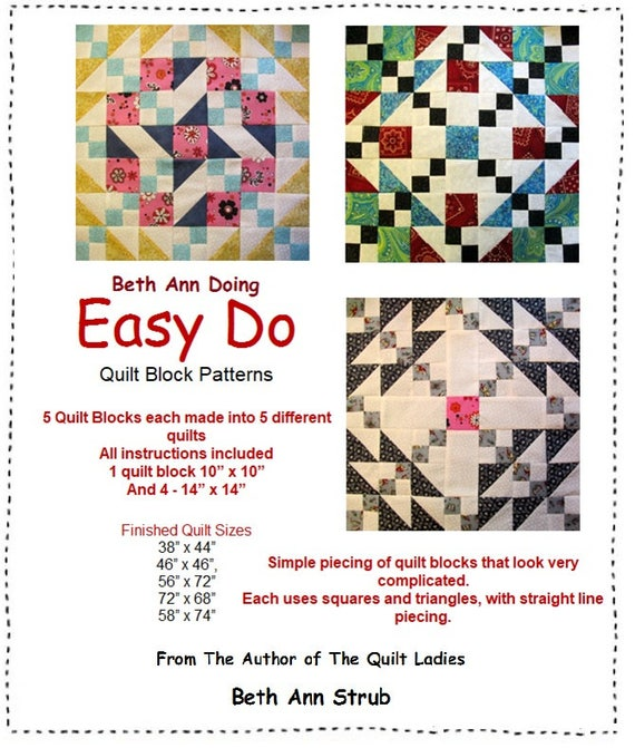Easy Do Quilt Patterns Instructions For Five Complete