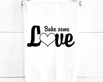 Bake Some Love Tea Towel Cotton Dish Towel for Baking