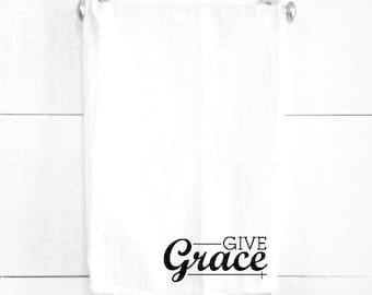 Give Grace Tea Towel Spiritual Religious Home Decorations