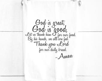 God is Good God is Great Daily Bread Prayer Tea Towel Easter Kitchen Decor