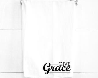 Give Grace Tea Towel Easter Dinner Decor Spiritual Religious Home Decorations