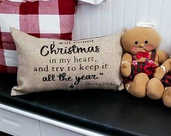 A Christmas Carol Card Catalog Pillow Cover