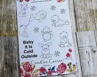 Decorative Stickers--Color Me Winter