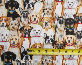 Faithful Friend  Doggies Breeds Dogs Puppy Packed BY YARDS Blank Cotton Fabric