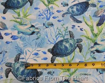 Sea Turtles Ocean Fish on Sea Blues w Seaweed Plants  BY Yard , 1/2 yd, Fat Quarter   Timeless Treasure 100%  Cotton Fabric