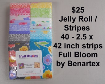 """Full Bloom Floral  Strips Jelly Roll  2.5"""" x 42""""- 40 strips 100% Cotton NEW Benartex Fabric by Cherry Guidry"""