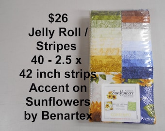 """Accent on Sunflowers Strips Jelly Roll  2.5"""" x 42""""- 40 strips 100% Cotton NEW Benartex Fabric w paisley, floral, flowers"""