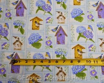 Hydrangea Birdsong Garden Birds Birdhouses on Blue Cream BY YARDS Henry Glass 100% Cotton Fabric