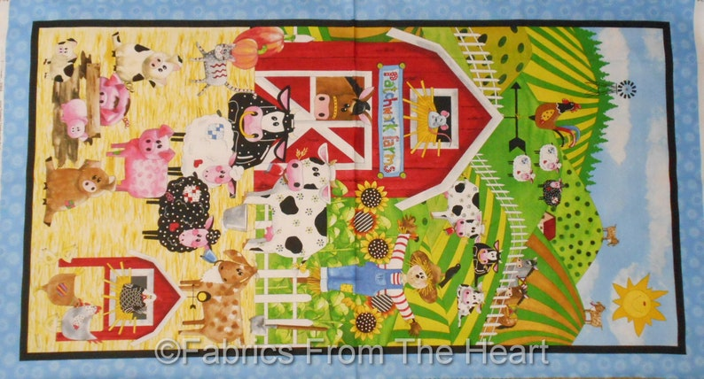 Patchwork Farms Cows Pigs Sheep Red Rooster Barn 23x44 image 0