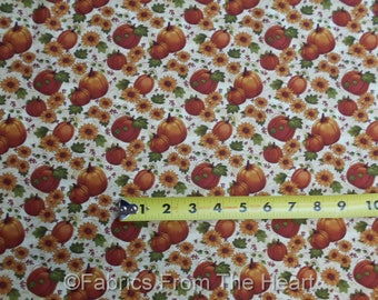 Pumpkins Patch Fall Autumn Sunflowers on Tan  BY YARDS  Benartex Cotton Fabric