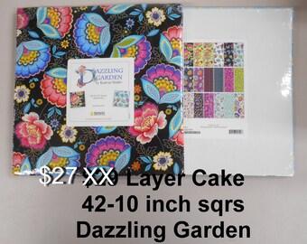 "Dazzling Garden 10""x 10"" -42 Squares per Layer Cake 100% Cotton NEW Benartex Kanvas Studio Fabric"