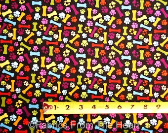 Faithful Friend Doggie Bones Puppy Paws on Black BY YARDS Blank Cotton Fabric