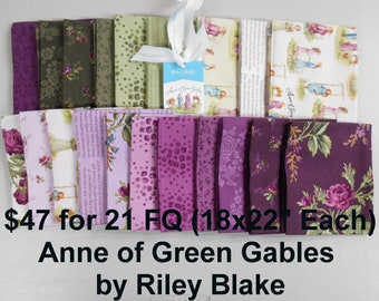Anne of Green Gables Rose Flower 21 FQ Bundle Fat quarters (each 18x22) by Riley Blake 100% Cotton NEW Fabric