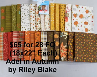 Adel in Autumn 28 FQ Bundle Fat quarters (each 18x22) by Riley Blake 100% Cotton NEW Fabric by Sandy Gervais