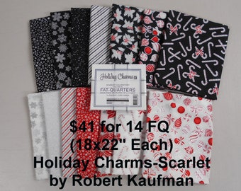 Holiday Charms Silver Metallic - Scarlet 14 FQ Bundle Fat quarters (each 18x22) by Robert Kaufman 100% Cotton NEW Fabric