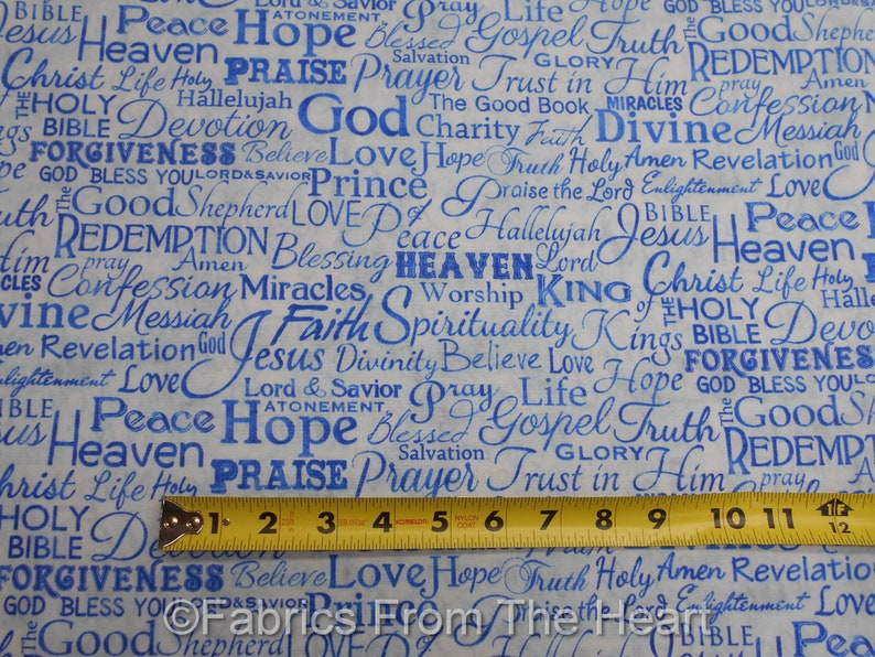 Hope God Spiritually Bible Faith Words in Blues BY YARDS TT image 0