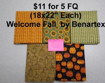 Welcome Fall Autumn Pumpkins Sunflowers 5 FQ Bundle Fat quarters (each 18x22) by Benartex 100% Cotton NEW Fabric Set C