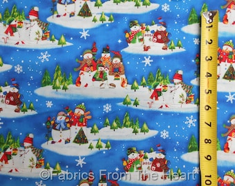 Winter Wishes Snowman Family  Wonderland on Blue BY YARDS  Windham Cotton Fabric
