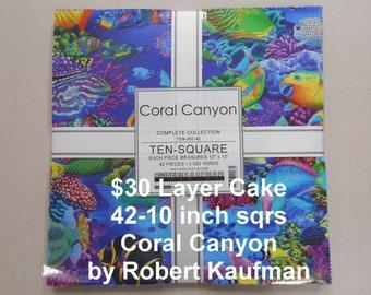 "Coral Canyon Tropical Fish 10""x 10""-42 Squares per Layer Cake 100% Cotton NEW Robert Kaufman Ten- Square Fabric"