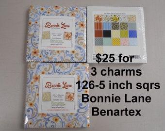 "Bonnie Lane Floral THREE 5"" Charm Packs 126 sqrs Total,   100% Cotton NEW Benartex Fabric by Pat Sloan"