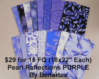 Pearl Reflections Purple 15 FQ Bundle Fat quarters (each 18x22) by Benartex 100% Cotton NEW Fabric