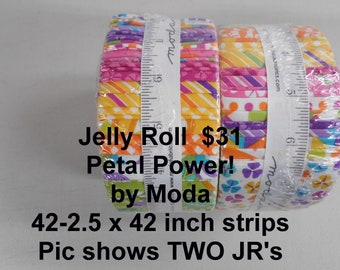 """Petal Power! Strips Jelly Roll  2.5"""" x 42""""- 40 strips 100% Cotton NEW MODA Fabric by Me and My sister design"""