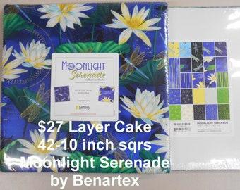 "Moonlight Serenade Dragonflys 10""x 10"" -42 Squares per Layer Cake 100% Cotton NEW Benartex Kanvas Studio Fabric"