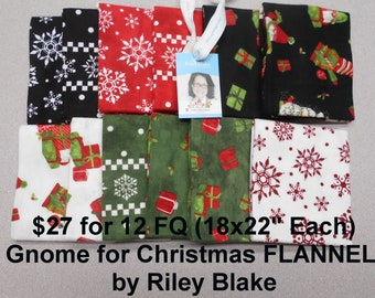 Gnomes for Christmas FLANNEL 12 FQ Bundle Fat quarters (each 18x22) by Riley Blake 100% Cotton NEW Fabric