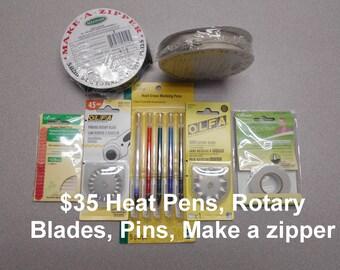 LOT Make a Zipper Rolls, Olfa Rotary Blades, Basting Tape, Heat Pens, Pinks  NEW sewing notions