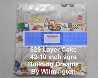"Building Dreams Construction Equipment Trucks 10""x 10""-42 Squares per Layer Cake 100% Cotton NEW Wilmington Prints Fabric 10"" Karat Crystals"