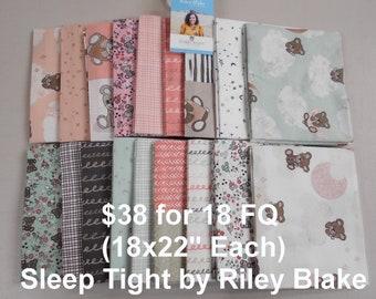 Sleep Tight Baby 18 FQ Bundle Fat quarters (each 18x22) by Riley Blake 100% Cotton NEW Fabric by Gabrielle Neil