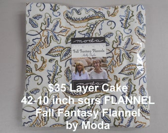 """Fall Fantasy FLANNEL 10""""x 10"""" -42 Squares per Stacker Layer Cake 100% Cotton NEW Moda FLANNEL Fabric by Holly Taylor"""
