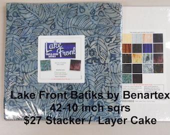 "Lake Front Batiks 42- 10""x 10"" Squares per Layer Cake 100% Cotton NEW Benartex Fabric w Leaves, Leaf, Nature"