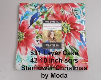 """Starflower Christmas 10""""x 10"""" -42 Squares per Layer Cake 100% Cotton NEW Moda Fabric By Create Joy Project"""