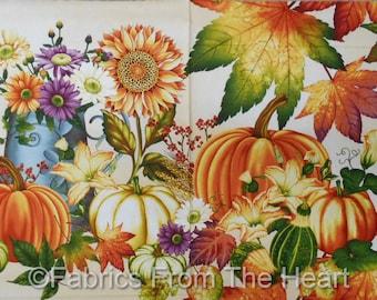 "Autumn Fall Pumpkins Sunflowers Leaf Tans 23x44"" Panel Henry Glass Cotton Fabric"