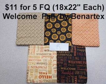 Welcome Fall Autumn Pumpkins Sunflowers 5 FQ Bundle Fat quarters (each 18x22) by Benartex 100% Cotton NEW Fabric Set R
