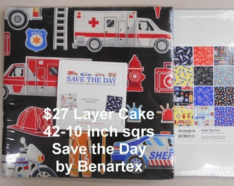 """Save the Day Firefighter, EMS, Sheriff, Police, Firetrucks 42- 10""""x 10"""" Squares per Layer Cake 100% Cotton NEW Benartex Fabric"""
