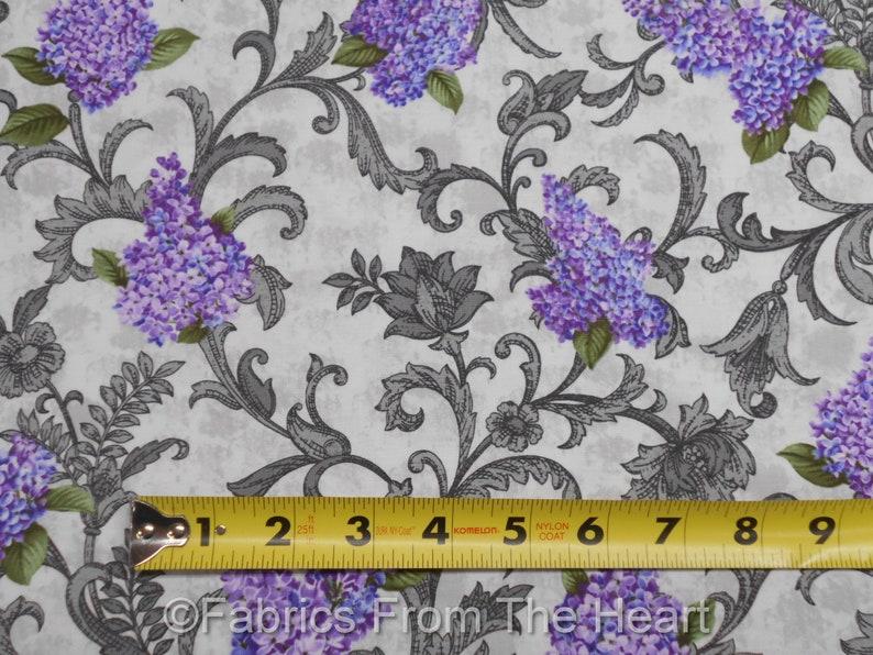Lilacs in Bloom Floral Fresco Lt Gray Scrolls BY YARD Benartex image 0